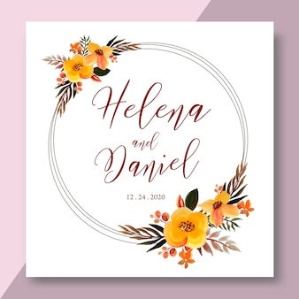 Watercolor floral frame, ring flower wreath