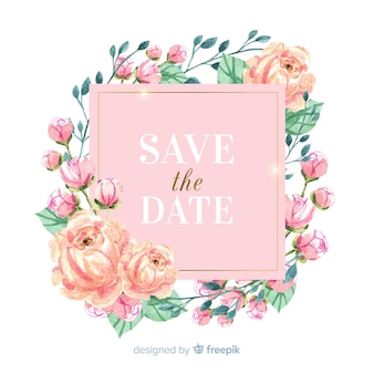 Watercolor floral frame save the date background