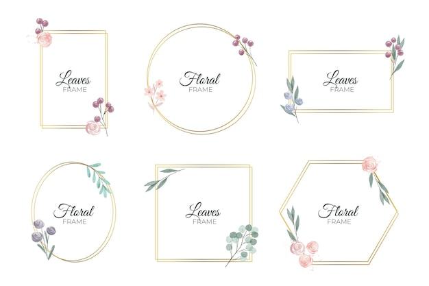 水彩花フレームセット