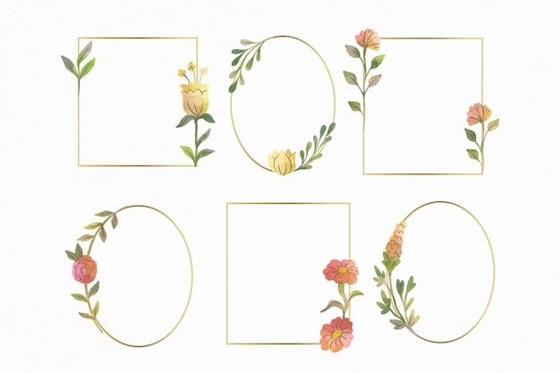 수채화 꽃 프레임 세트