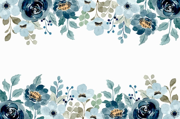 水彩花柄フレーム。柔らかい青い花の背景