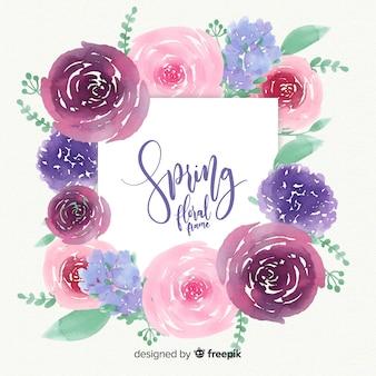 Watercolor floral frame spring background