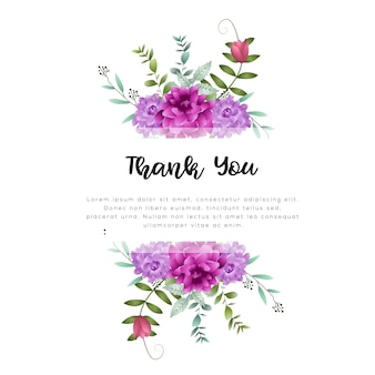 Watercolor floral frame template
