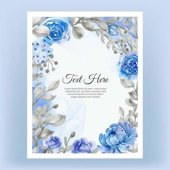 水彩フローラルフレームヴィンテージローズピンクとパープルエレガントなフラワーブルーの美しいフローラルフレーム