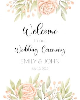 Watercolor floral frame, wedding card.