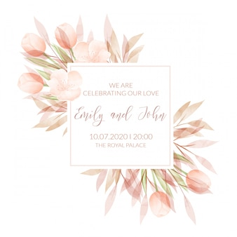 Watercolor floral frame. wedding invitation card
