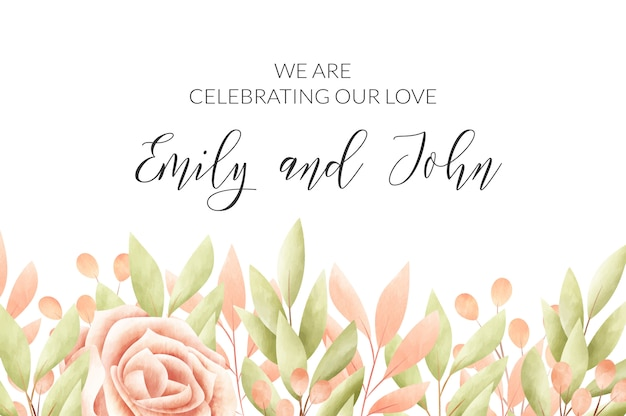 Watercolor floral frame. wedding invitation card.