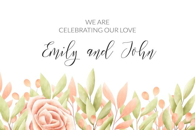 水彩花のフレーム。結婚式の招待カード。