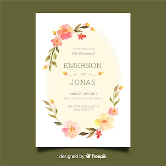Watercolor floral frame wedding invitation template
