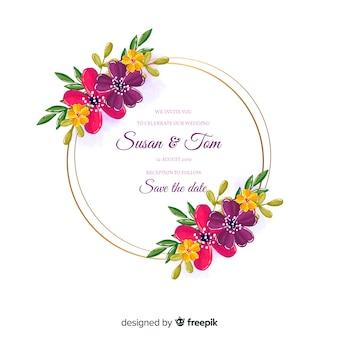Watercolor floral frame wedding invitation