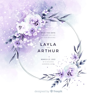 Watercolor floral frame wedding invitation