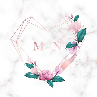Watercolor floral frame for wedding monogram logo