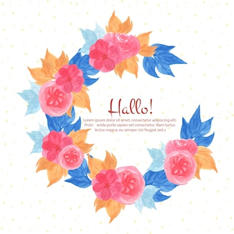 Watercolor floral frame with beautiful pink flower