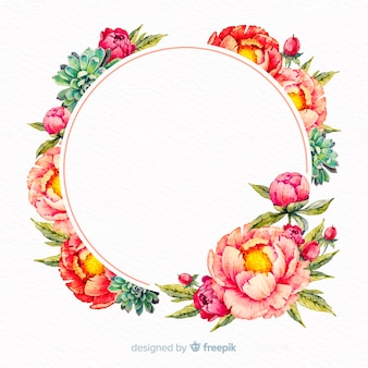 Watercolor floral frame with blank banner
