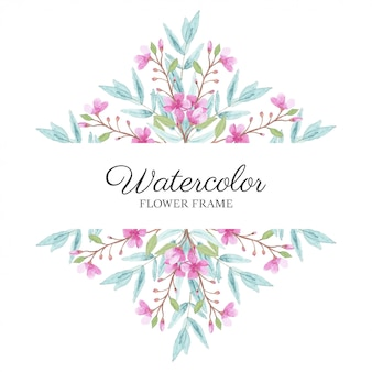 Watercolor floral frame with cherry blossom