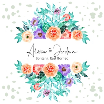 Watercolor floral frame with circle background