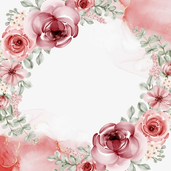 Watercolor floral frame with circular background