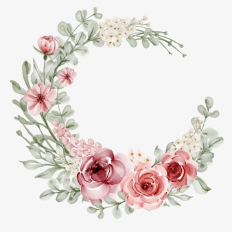 Watercolor floral frame with circular border