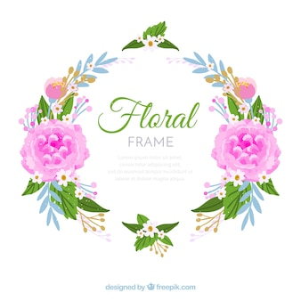 Watercolor floral frame with circular design