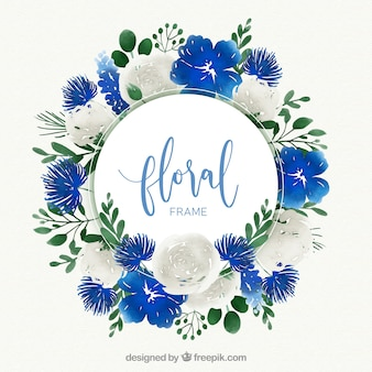Watercolor floral frame with circular design