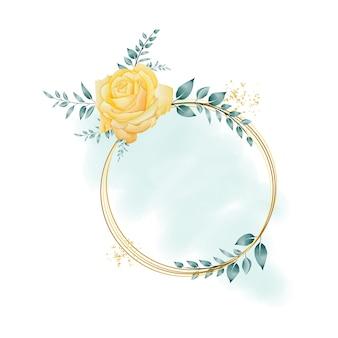 Watercolor floral frame with circular geometric border premium vector