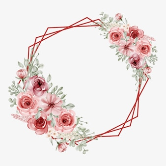 Watercolor floral frame with circular line border