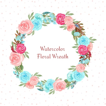 Watercolor floral frame with colorful flowers