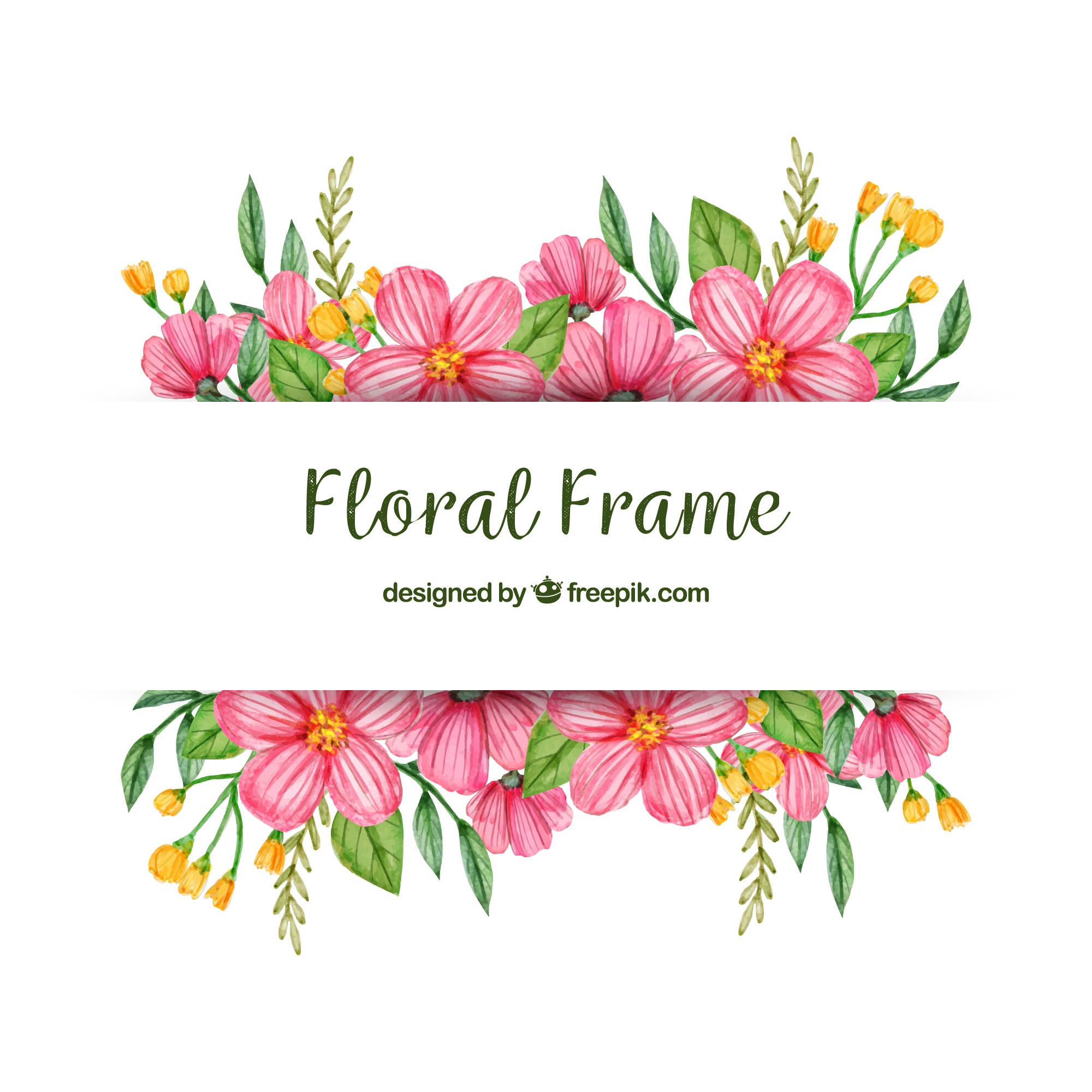 Watercolor floral frame with colorful style