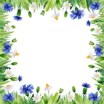 Акварельная цветочная рамка с васильками и листьями