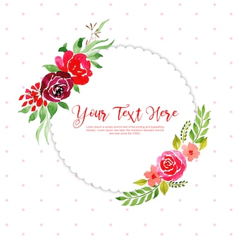 Watercolor floral frame with dotted background