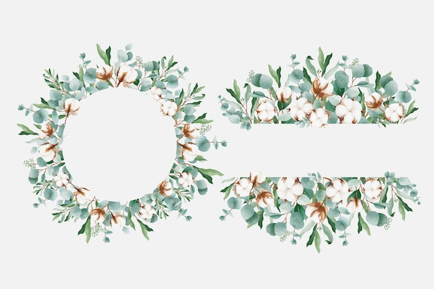 Watercolor floral frame with eucalyptus and cotton flowers