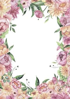 花と葉の水彩花フレーム。