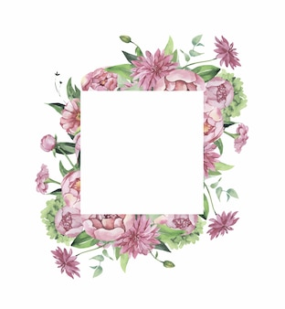 Watercolor floral frame with flowers and leaves.