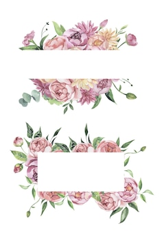 Watercolor floral frame with flowers