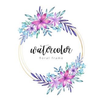 Watercolor floral frame with gold border