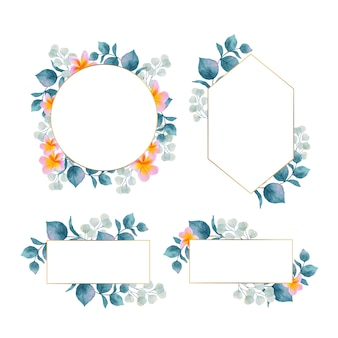 Watercolor floral frame with gold frame collection