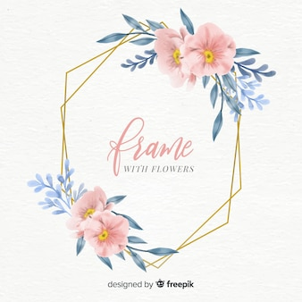 Watercolor floral frame with golden geometry