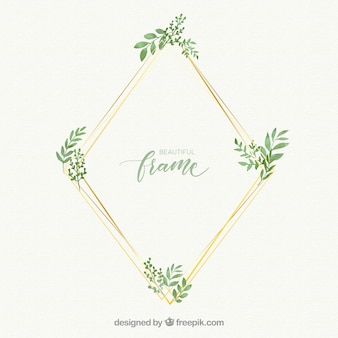 Watercolor floral frame with golden lineal style