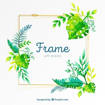 Watercolor floral frame with golden lines