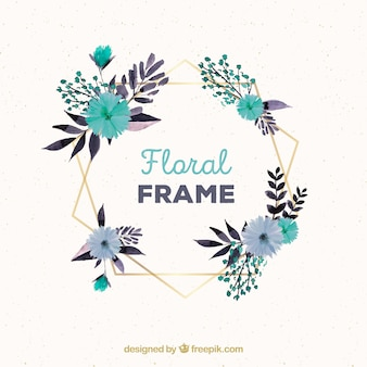 Watercolor floral frame with golden polygonal lines