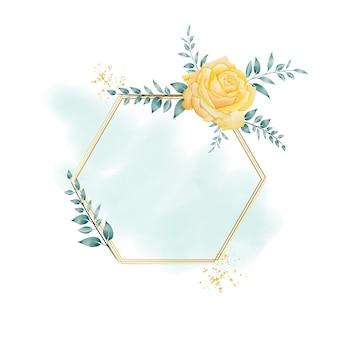 Watercolor floral frame with hexagonal geometric border premium vector