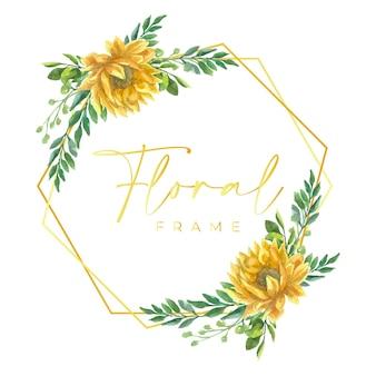 선 테두리와 수채화 꽃 프레임
