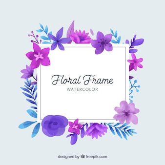 Watercolor floral frame with lovely design