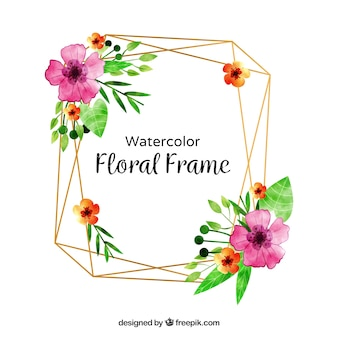 Watercolor floral frame with lovely style