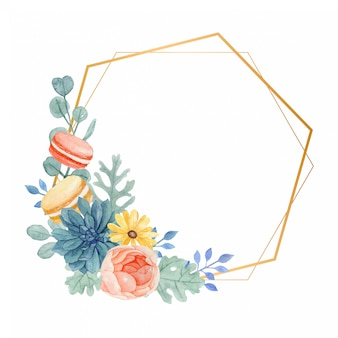 Watercolor floral frame with macaroons, rose, daisy, succulent and dusty miller leaves