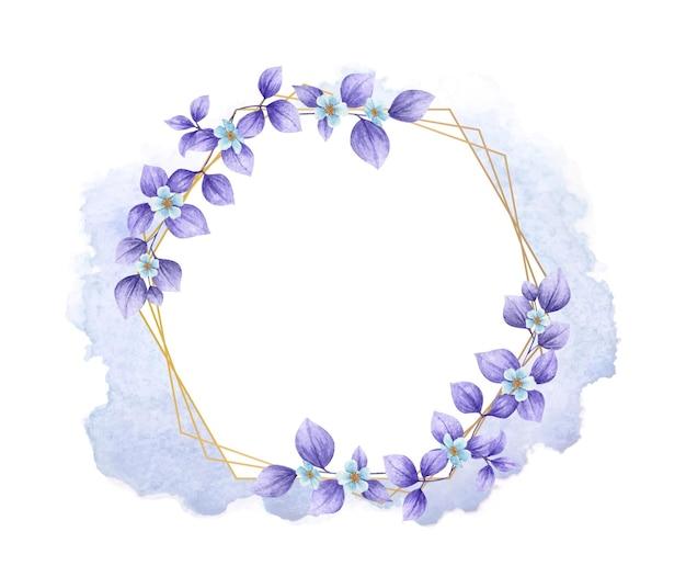 보라색 잎 수채화 꽃 프레임