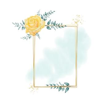 Watercolor floral frame with rectangular geometric border premium vector