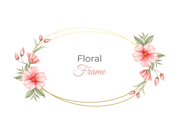 붉은 꽃으로 수채화 꽃 프레임