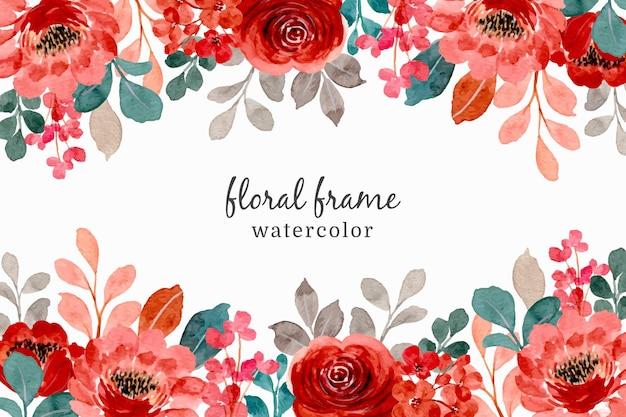 빨간 장미와 수채화 꽃 프레임