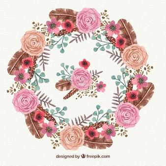 장미와 나뭇잎 수채화 꽃 프레임